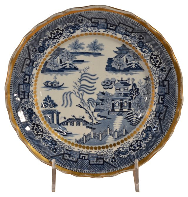 19th-C. Davenport  Blue   Willow Plate