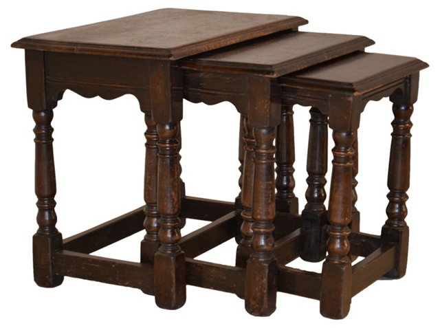 19th-C. English Nesting  Tables,  S/3