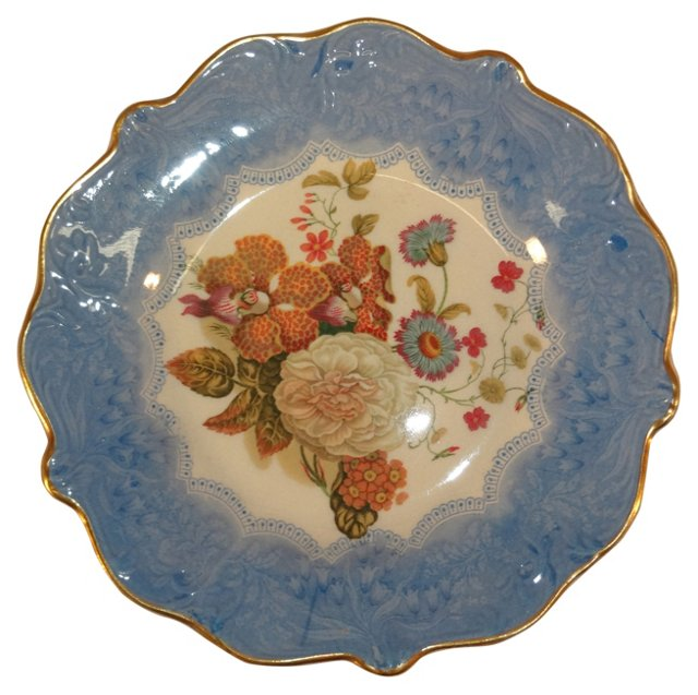 19th-C. English Bouquet Plate