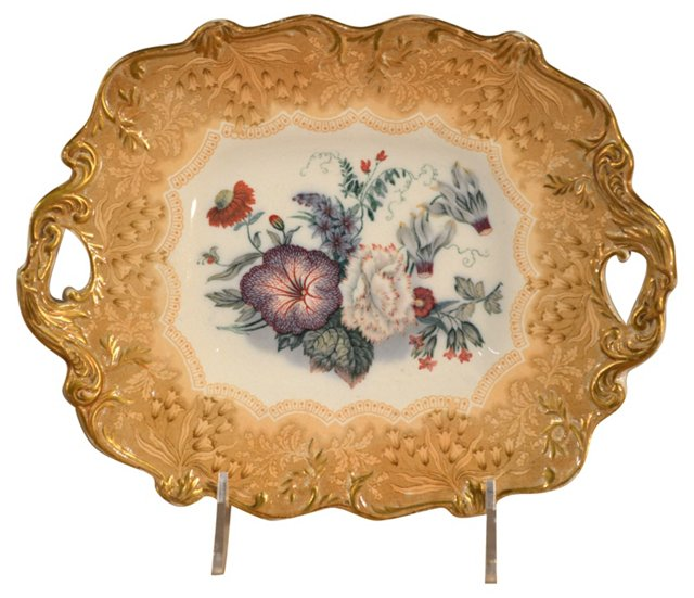 19th-C. Bouquet Dessert Platter
