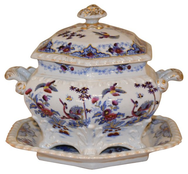 19th-C. English Sauce Tureen & Tray