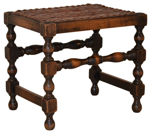 Late-19th-C. Braided Leather Stool