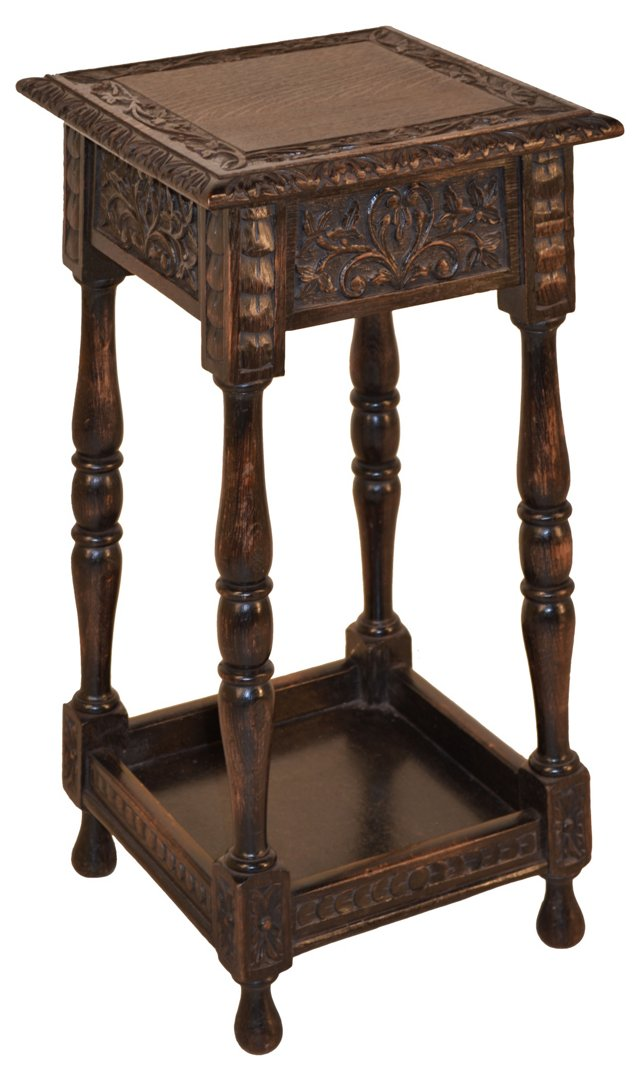 19th-C. English Carved Plant Stand