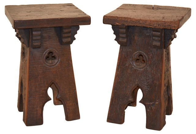 19th-C. French   Stools, Pair