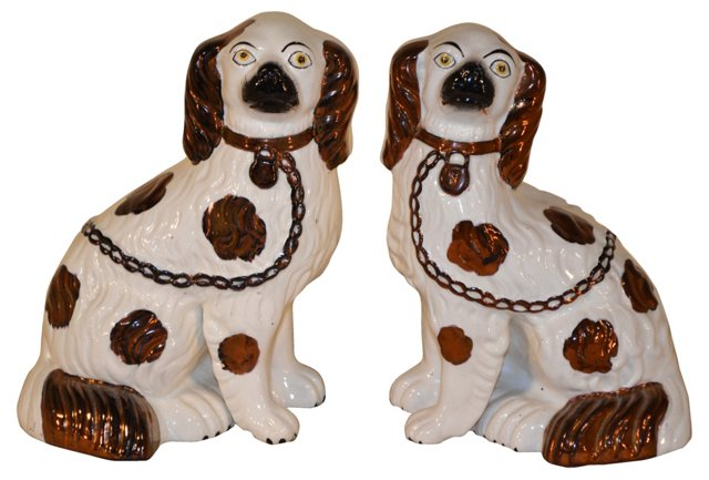 19th-C. English Dogs,   Pair
