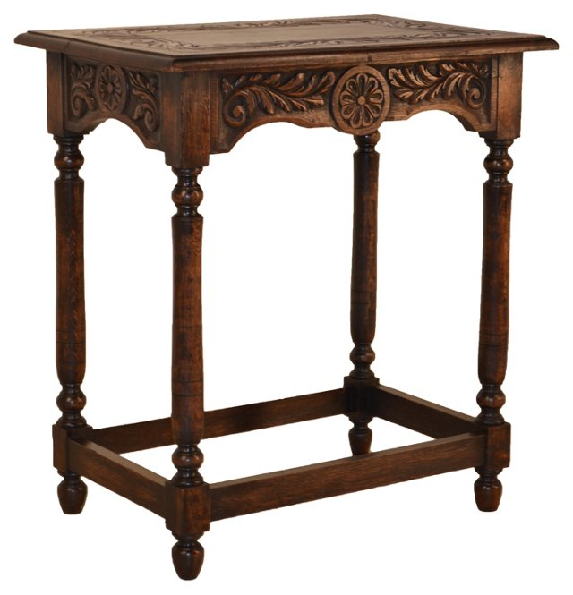 19th-C. English   Carved Side Table