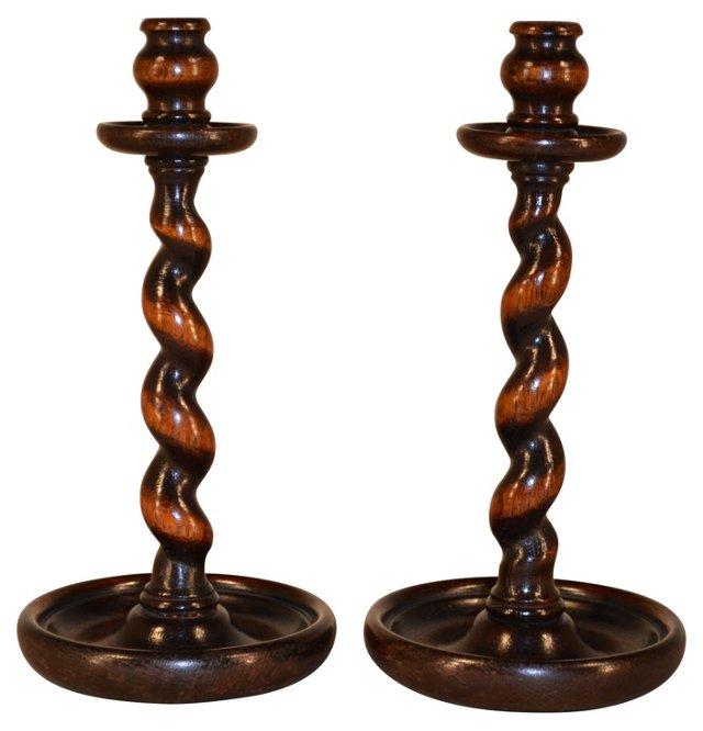19th-C. Oak Candlesticks, Pair