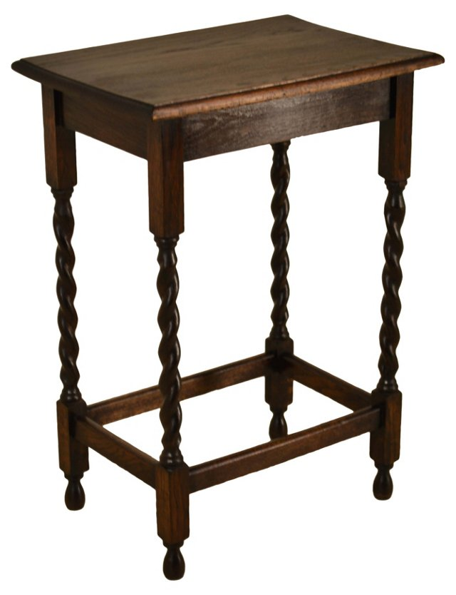 English Oak Accent Table, C. 1910