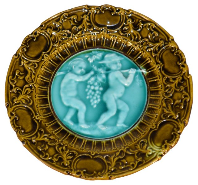 19th-C. Majolica  Plate