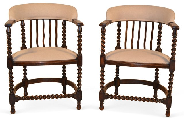 19th-C. English   Armchairs, Pair