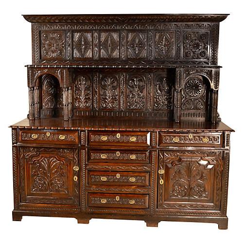 Welsh Carved Oak Dresser, C. 1720