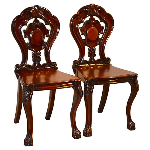 19th-C. English Hall Chairs, Pair