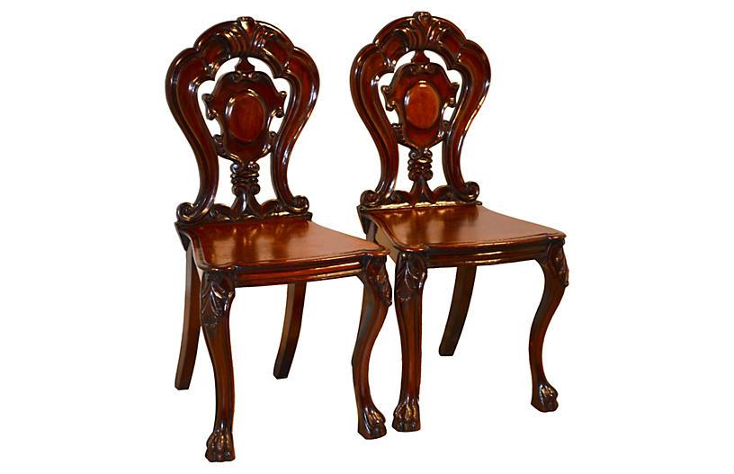 19th-C. English Hall Chairs, Pair