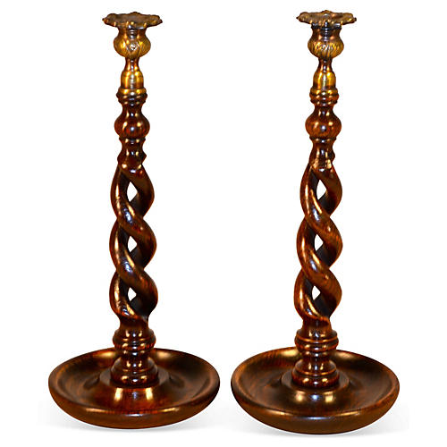 19th-C. Open Twist Candlesticks, Pair