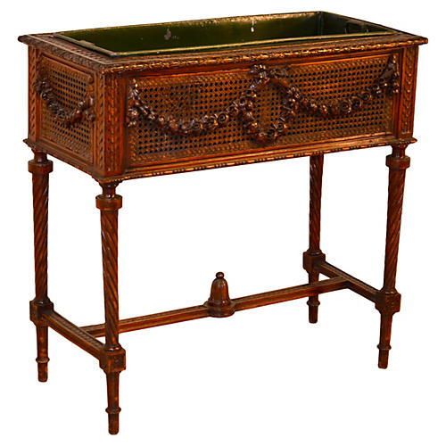 19th-C. French Planter on Stand