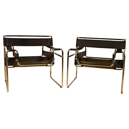 Breuer Wassily Style Chairs, Pair