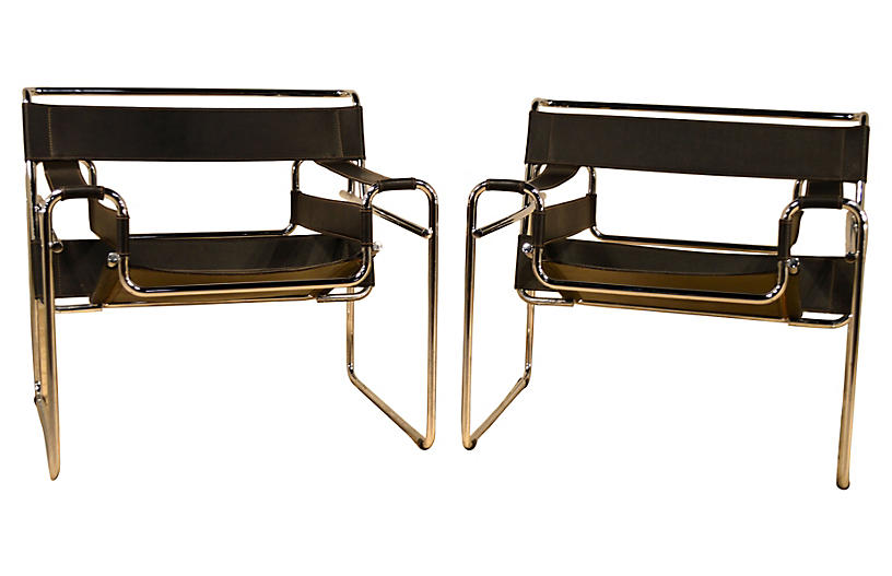Breuer Wassily-Style Chairs, Pair