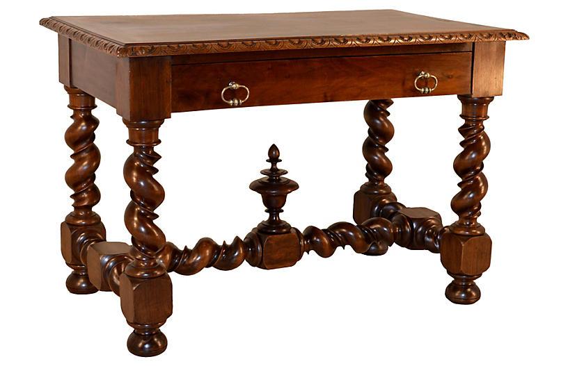 19th-C. French Walnut Vine Twist Table
