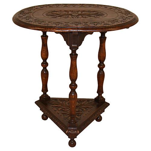 19th-C. English Oval Oak Table