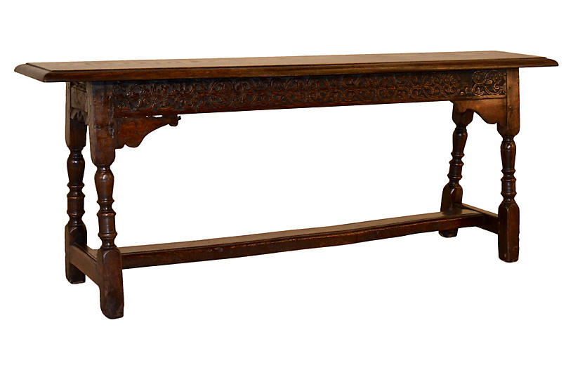18th-C. English Carved Long Bench