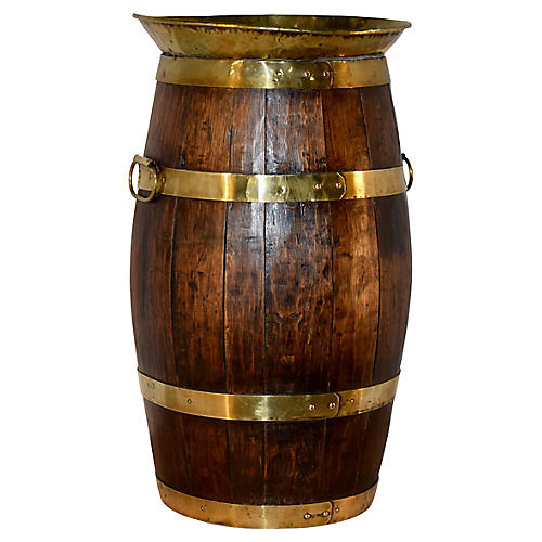 19th-C. Banded Cane Stand