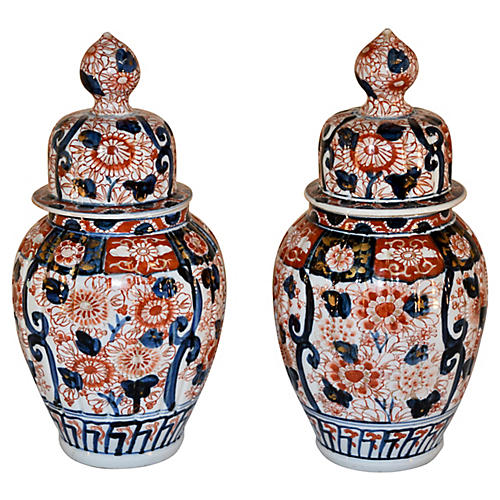 19th-C. Pair of Imari Jars