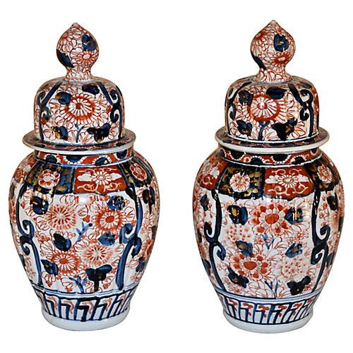 19th-C. Pair of Imari Jars