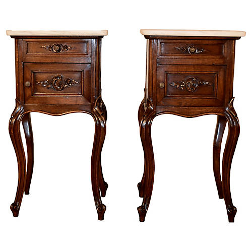 19th-C. Pair of French Side Tables