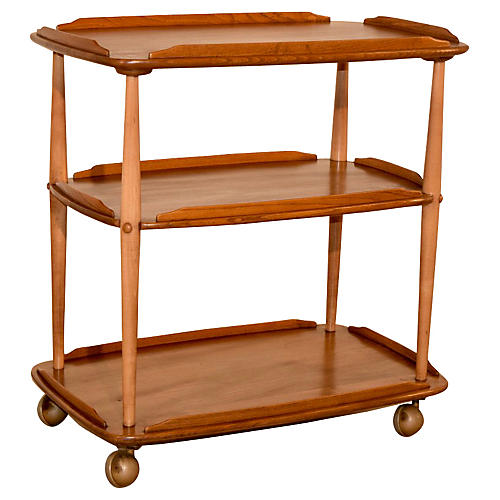 20th-C. Elm Bar Cart