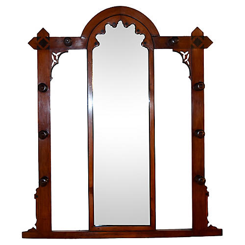 19th-C. English Mahogany Hall Mirror