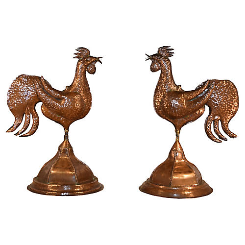 Pair of Copper Roosters