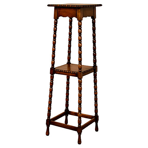 19th-C. English Oak Plant Stand