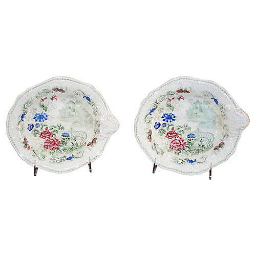 19th-C. Pair of Shaped Dishes