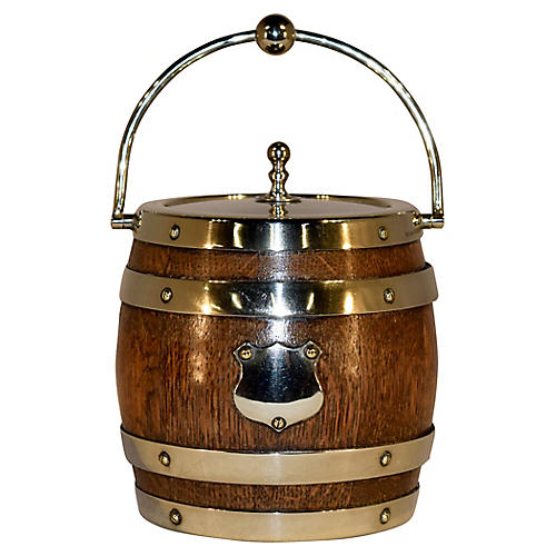 English Oak Biscuit Barrel, c.1900