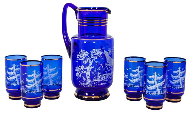 Cobalt Glass Pitcher & 6 Glasses