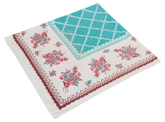 Aqua & Chocolate Floral Tablecloth