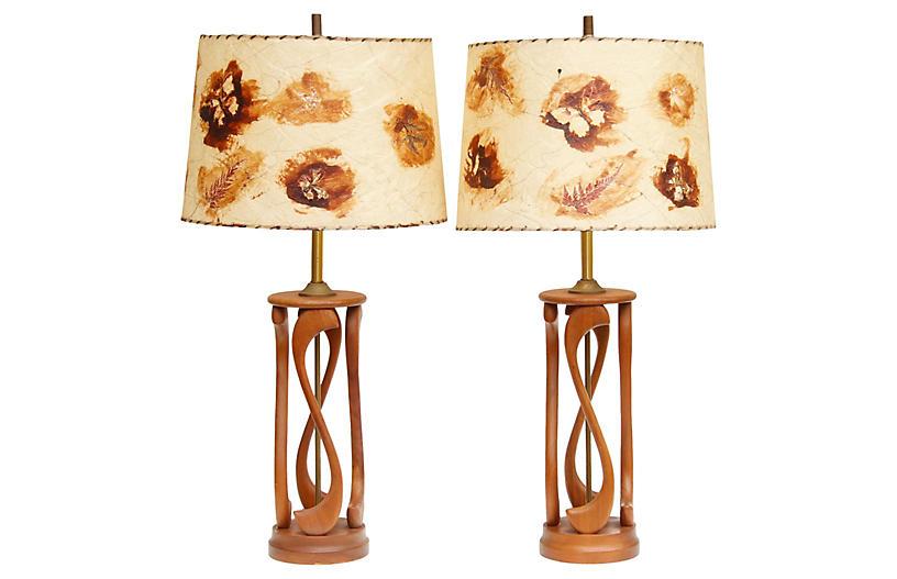 Mid Century Teak Table Lamps - a Pair
