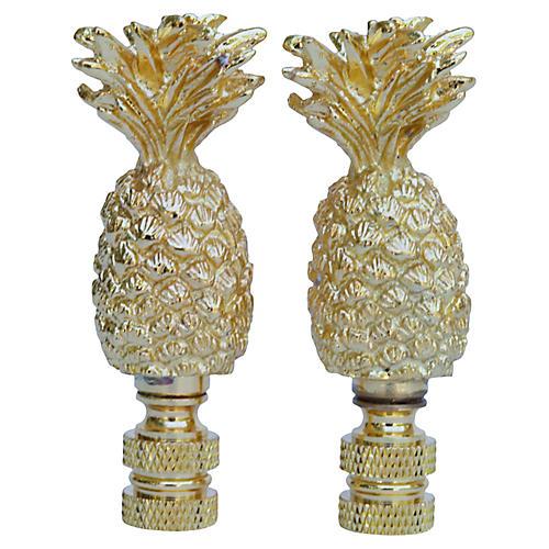 Pineapple Lamp Finials, Pair
