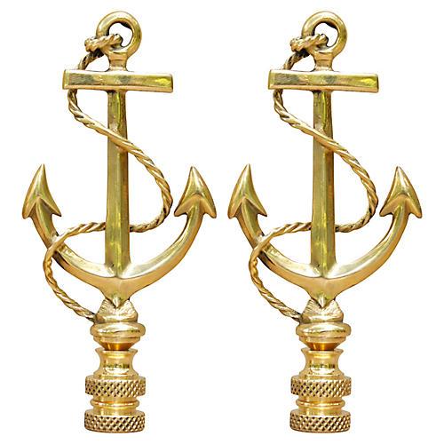 Large Brass Anchor Lamp Finials - a Pair