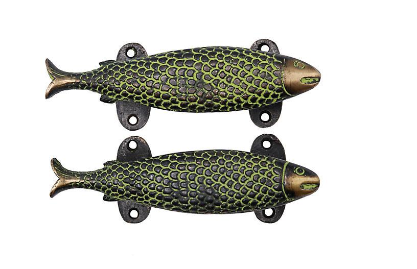 Green Brass Fish Door Handles - a Pair