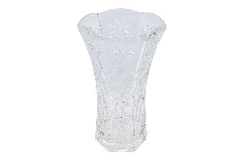 Clear Cut Glass Flower Vase