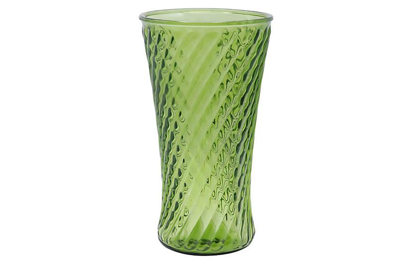 Pressed Green Glass Vase