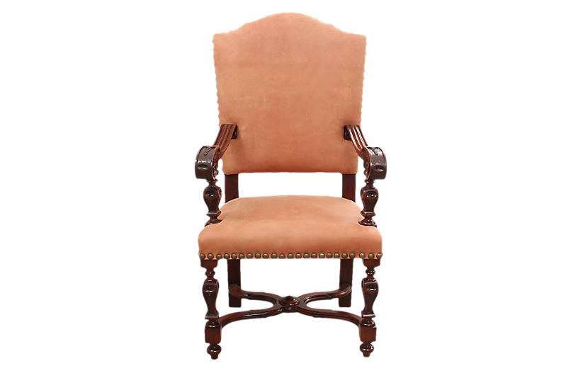 Jacobean Style Leather Chair