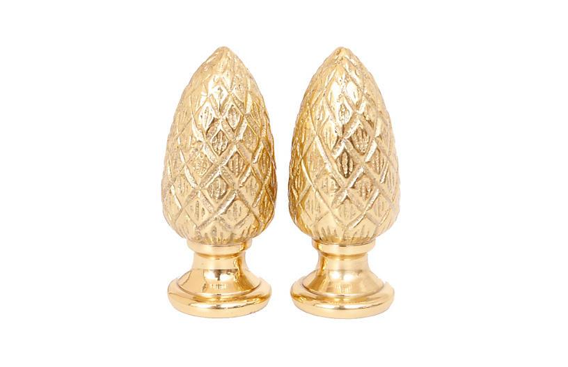 Brass Pine Cone Lamp Finials - a Pair