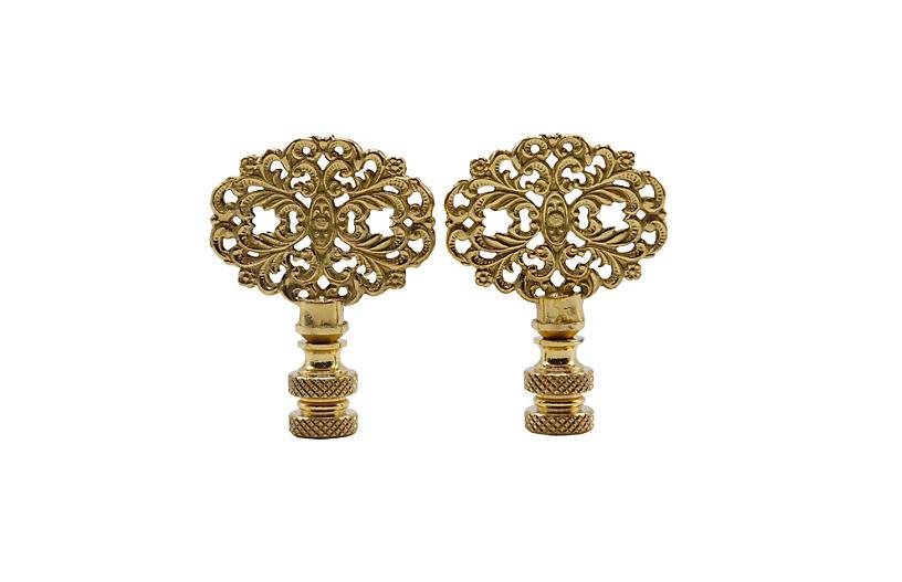 Oval Brass Filigree Lamp Finials, Pair