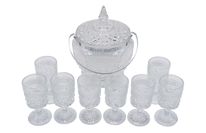 Wexford Crystal Ice Bucket & Glasses