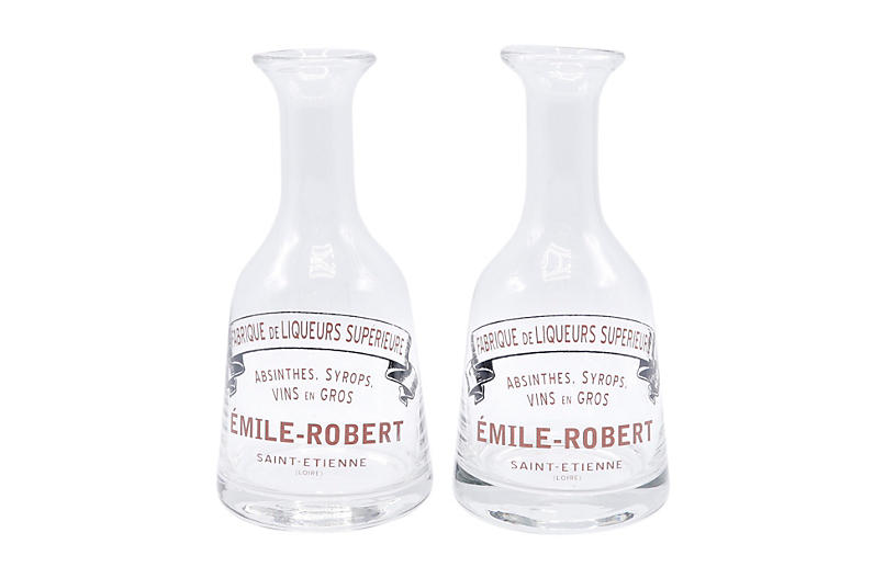 French Bistro Glass Carafes, Pair