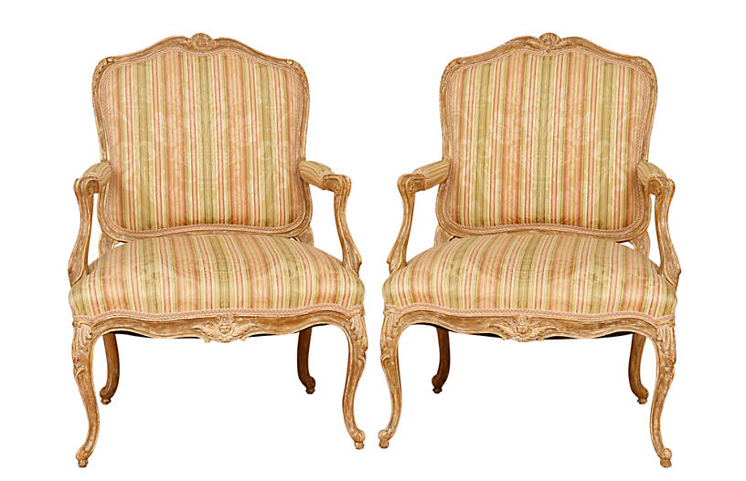 Louis XV French Armchairs, Pair