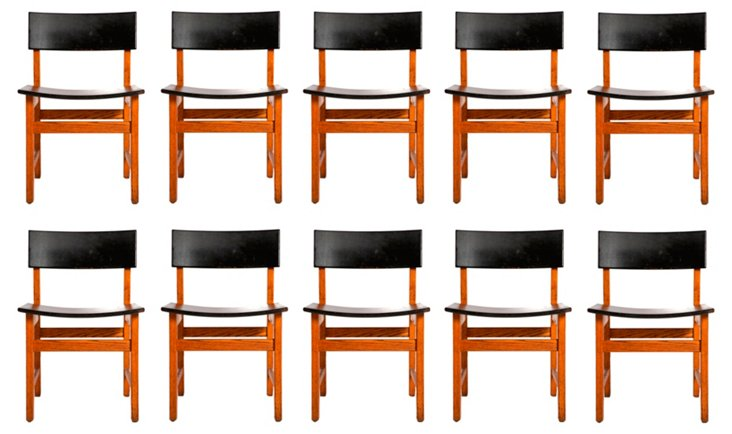 Teak Library Chairs, Set of 10