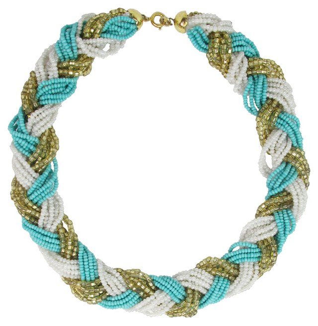 Braided & Beaded Collar Necklace